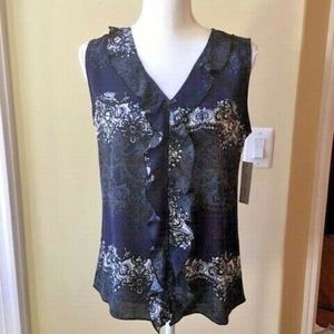 Nwt Larry Levine Printed Lace Ruffle Front Top